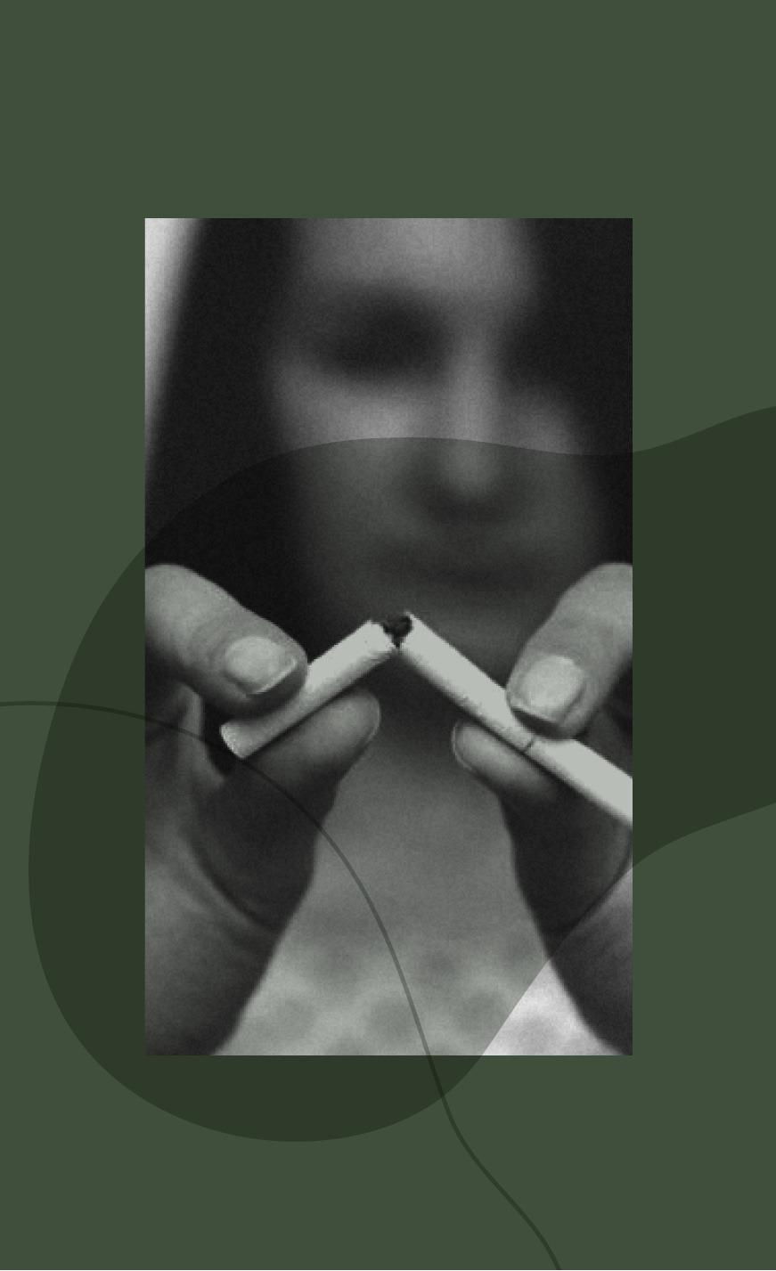 photo en noir et blanc sur fond vert d'une femme tenant dans ses mains une cigarette cassée. La photo illustre la cure arrêt du tabac que propose la luxopuncture