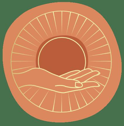 logo de Camille Lallouet, praticienne en Luxopuncture. L'image représente une main dorée dans un cercle orange tenant un soleil